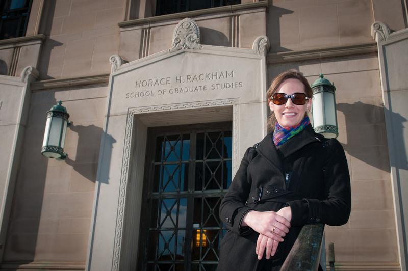 Jamie, in front of the Horace H. Rackham School of Graduate Studies, where she is currently a doctoral student