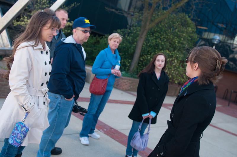 Jamie, our tour guide, leads us through Ann Arbor and around the campus of the University of Michigan