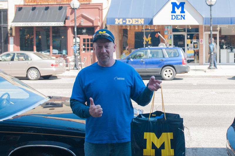 Jay Bright with a bagfull from the M Den in Ann Arbor