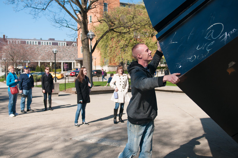 "Tony Rosenthal's rotating cube sculpture ""Alamo"" at the University of Michigan"
