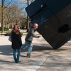 "Tony Rosenthal's rotating cube sculpture ""Alamo"" at the University of Michigan"