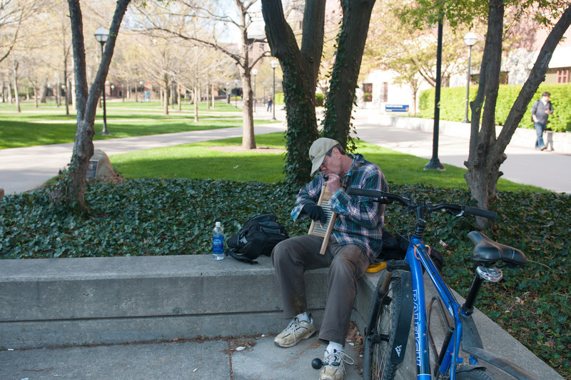 Turns out this guy playing a harmonica and washboard is a chemistry professor at the University of Michigan