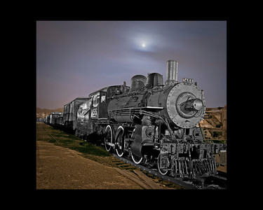 Taken at the Danbury, CT Train Museum. This is a real train, taken during a cloudy evening with a full moon.
