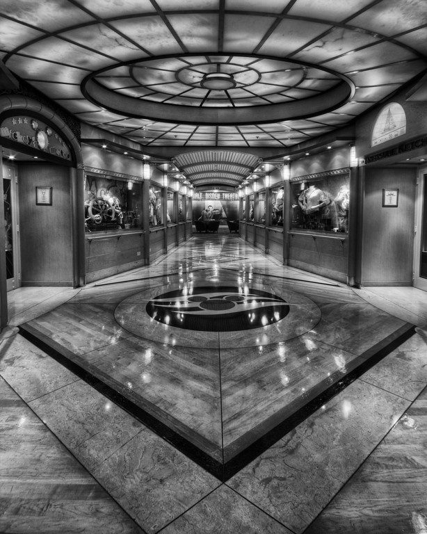 Hallway on the Disney Magic (B&W)