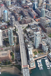 The Burrard Street bridge, downtown end.