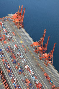 The main container dockyards. Almost looks like a model, eh?