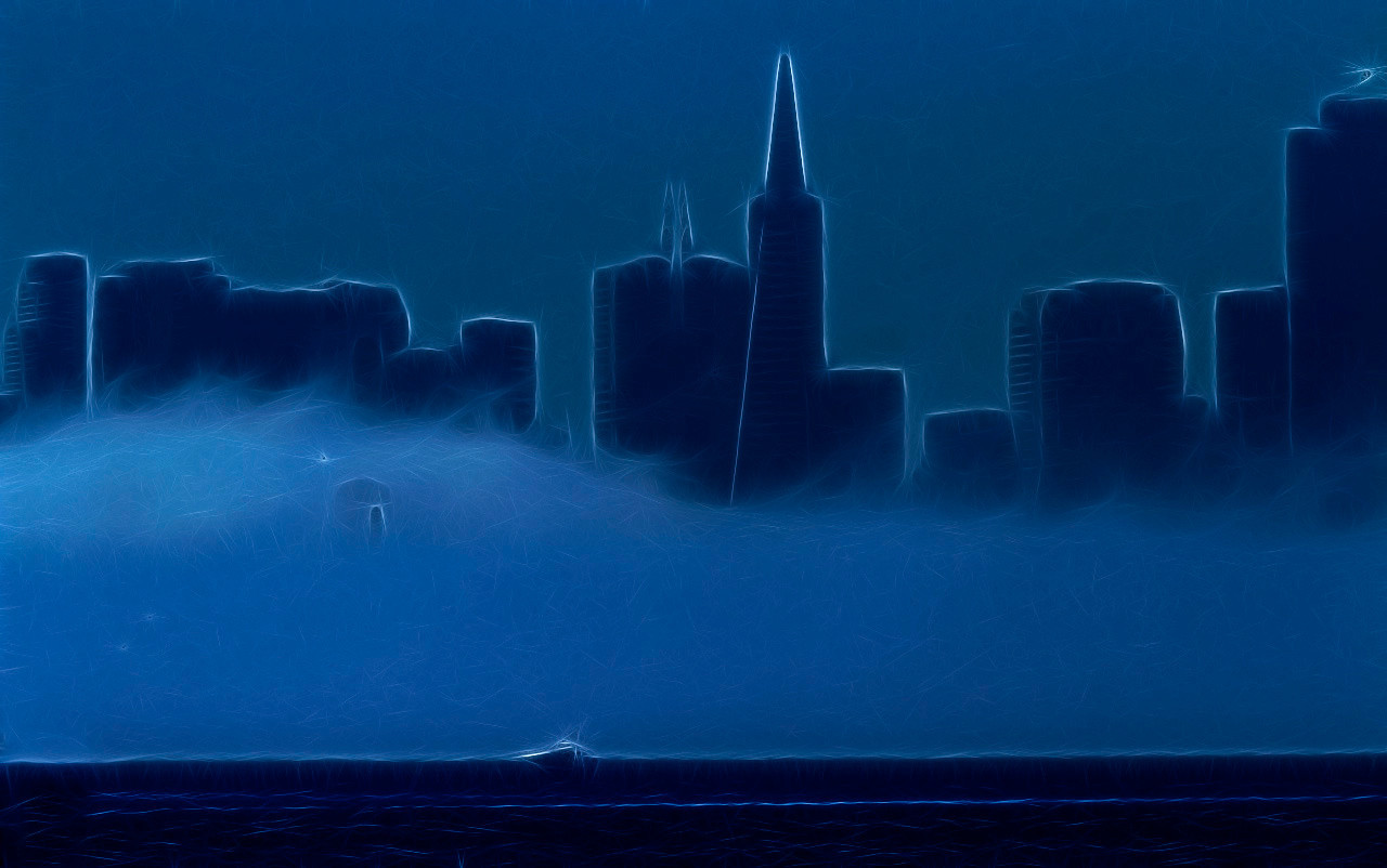 Fogscape in Blue with Boat
