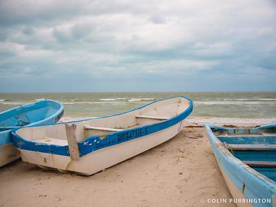 Boats on the beach at Chicxulub