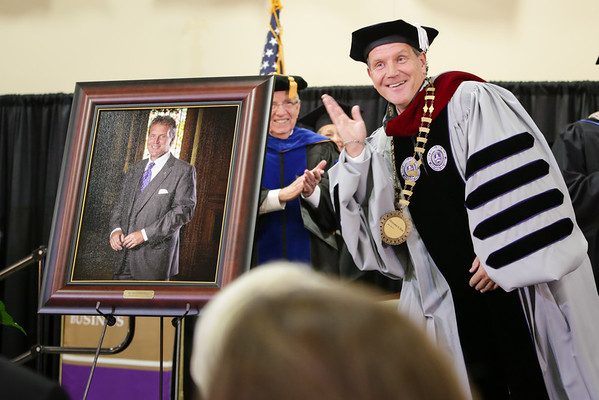 Middle Georgia State College President, Dr. Christopher Blake, after his portrait unveiling during his inauguration.