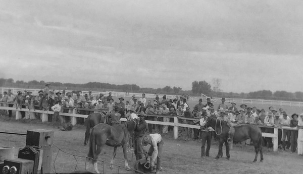 Awesome shot of some kind of rodeo. Possibly Monte Vista, CO, 1930s.