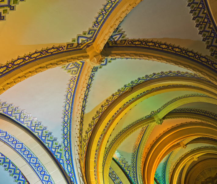 Ceiling in the lower level of St. Anne de Beaupre, Quebec, Canada