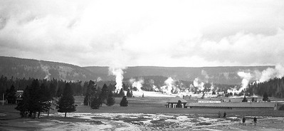 Yellowstone National Park. 1930s. People heading to the hot springs?