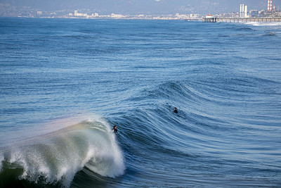 Surfers in Hermosa Beach, California