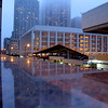 Lincoln Center in the fog and rain.