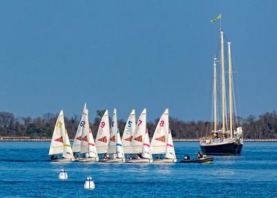 Small sail boats being towed in Annapolis, Maryland.