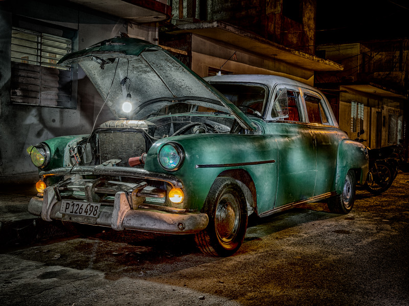 Old Cuba car, Light Painted