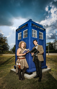 """The Doctor and River"" at the TARDIS Little Library. (College Hill Alliance)"