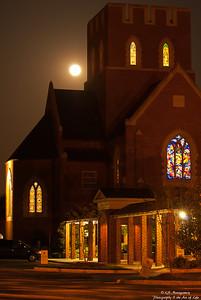 Full Moon over Canterbury School Chapel in Greensboro, NC