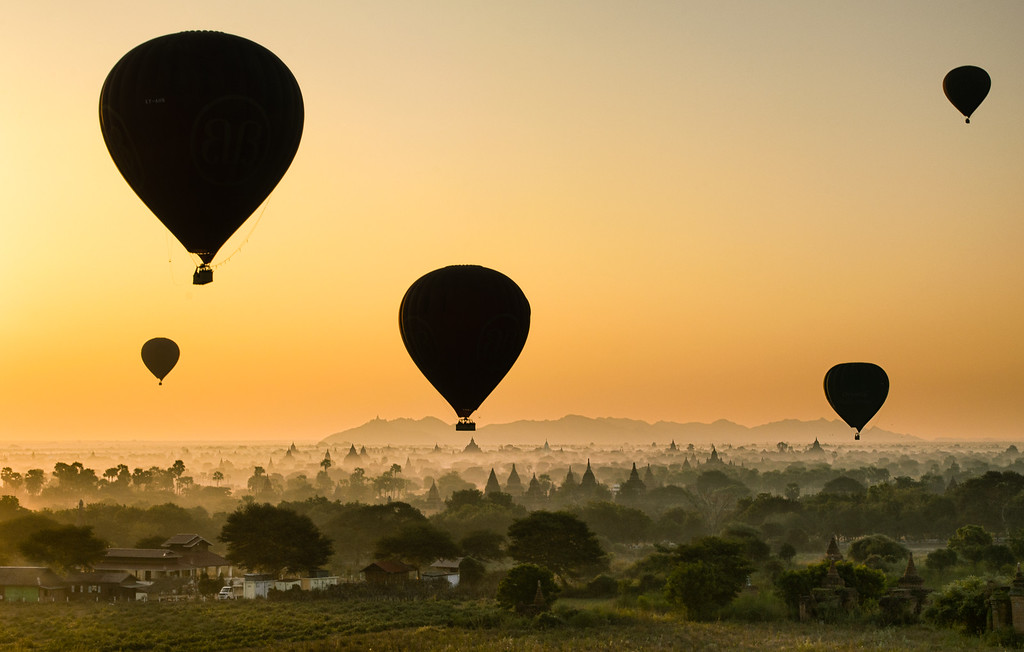 Balloons at sunrise, Bagan, Burma