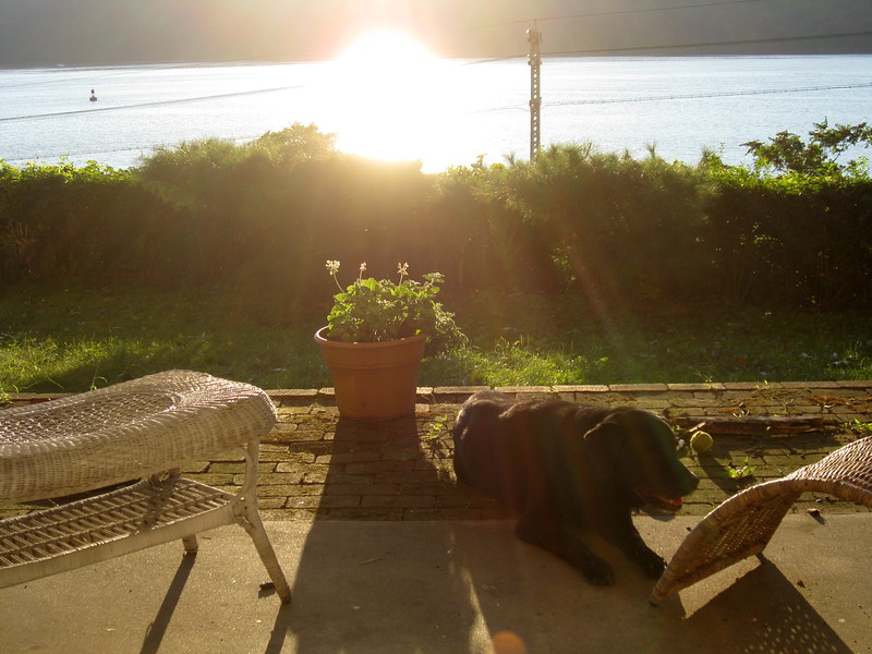 Pablo lounges in his backyard as the sun sets over the Hudson.