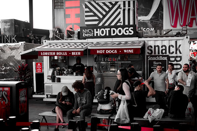 People at the Hot Dog Stand at Times Square, New York City.