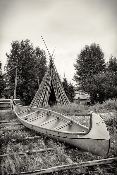 Teepee and Birchbark Canoe - Northwest River, Labrador