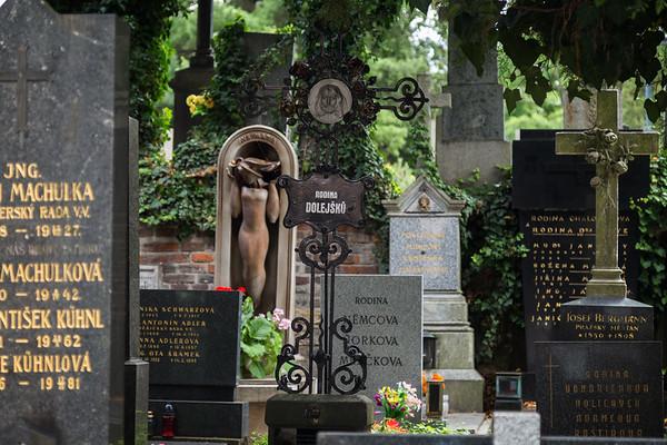 Tombstones at the Vysehrad cemetery in Prague