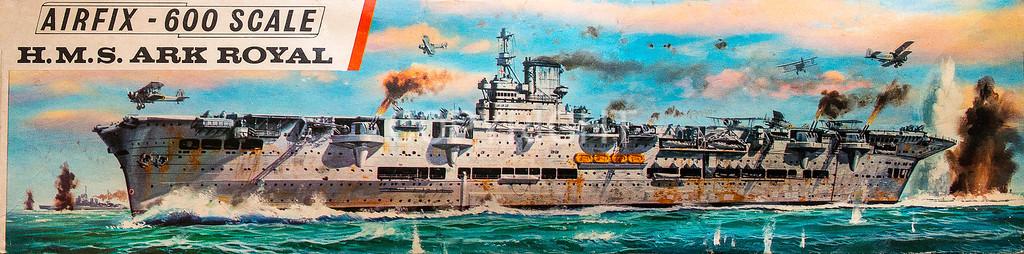 Royal Navy HMS Ark Royal seen flying off Swordfish torpedo aircraft.