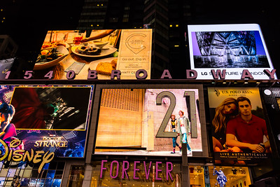 Electronic signs in Times Square, New York City.