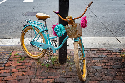 Decorated bicycle on King Street in Alexandria, Virginia.