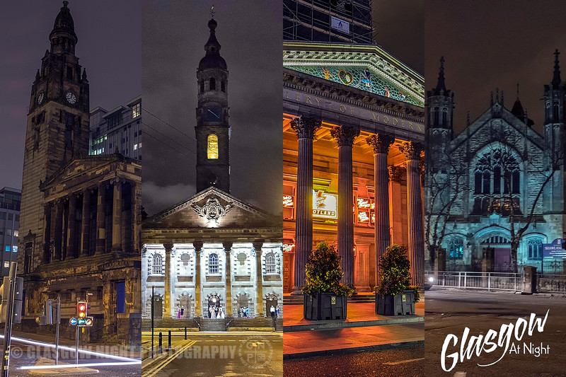 Glasgow at Night Collage