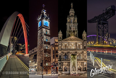 Glasgow at Night Collage - Glasgow Icons