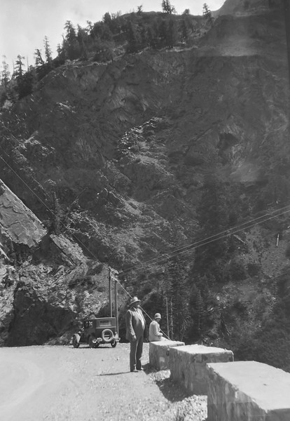 This looks like Boulder canyon in Colorado, but could be a number of places. 1920s or 30s.