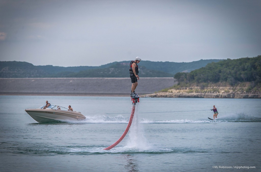 Flyboarding on Canyon Lake.