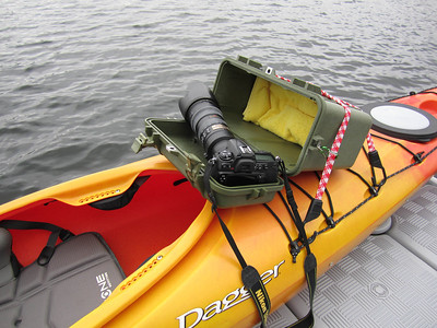 Open top cover makes for nice holding shelf when you need your hands to reposition the kayak.