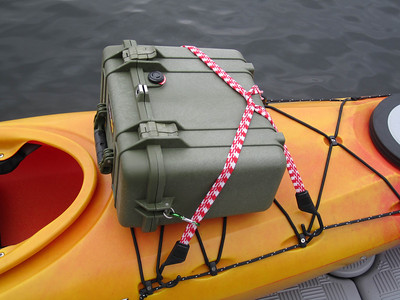 Bungees attached to safety line running along top edges of kayak.