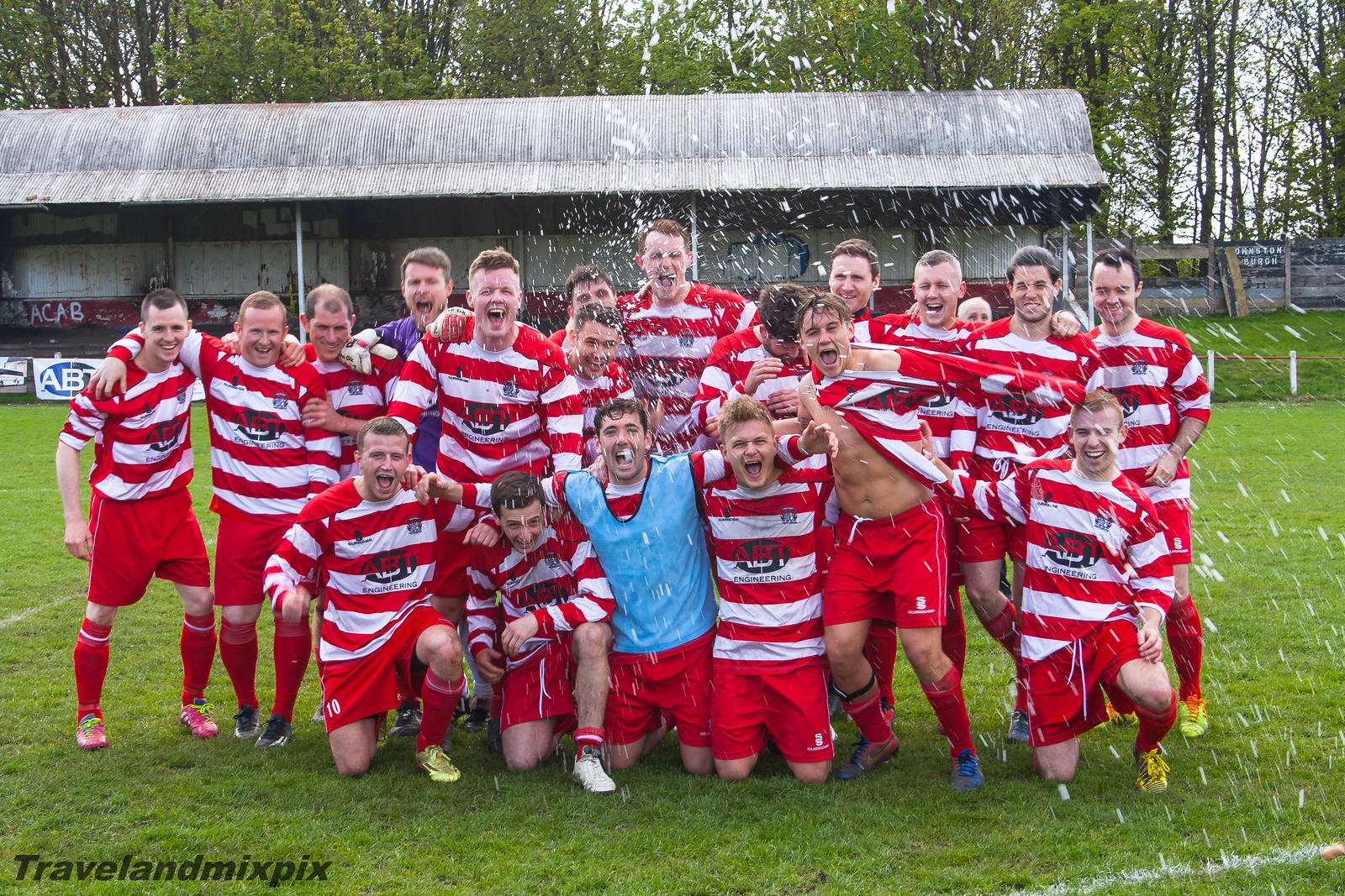 Johnstone Burgh 2 Royal Abert 0<br> Stagecoach West of Scotland League<br> Central District Second Division<br> Keanie Park<br> 09/05/2015<br> <i>Job done! Celebrations can commence!</i>