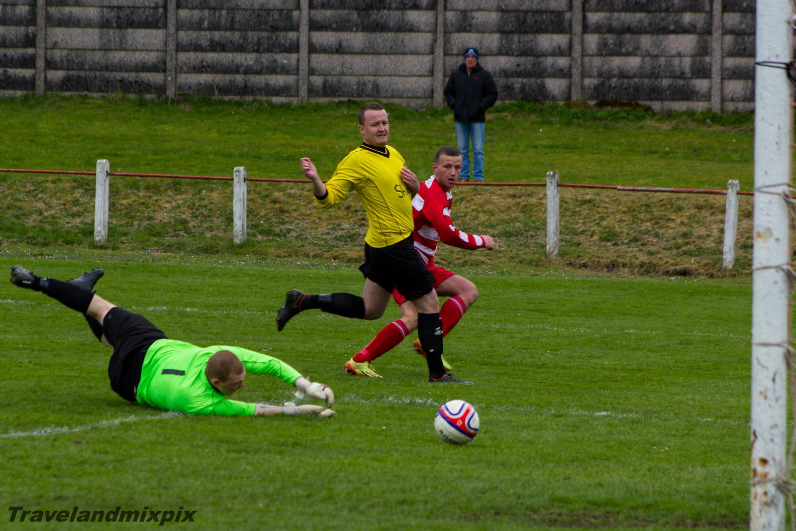 Johnstone Burgh 5 Newmains Utd 2<br> Stagecoach West of Scotland League<br> Central District Second Division<br> Keanie Park<br> 02/05/2015<br> <i>Jason Hardie makes the score 5-2</i>