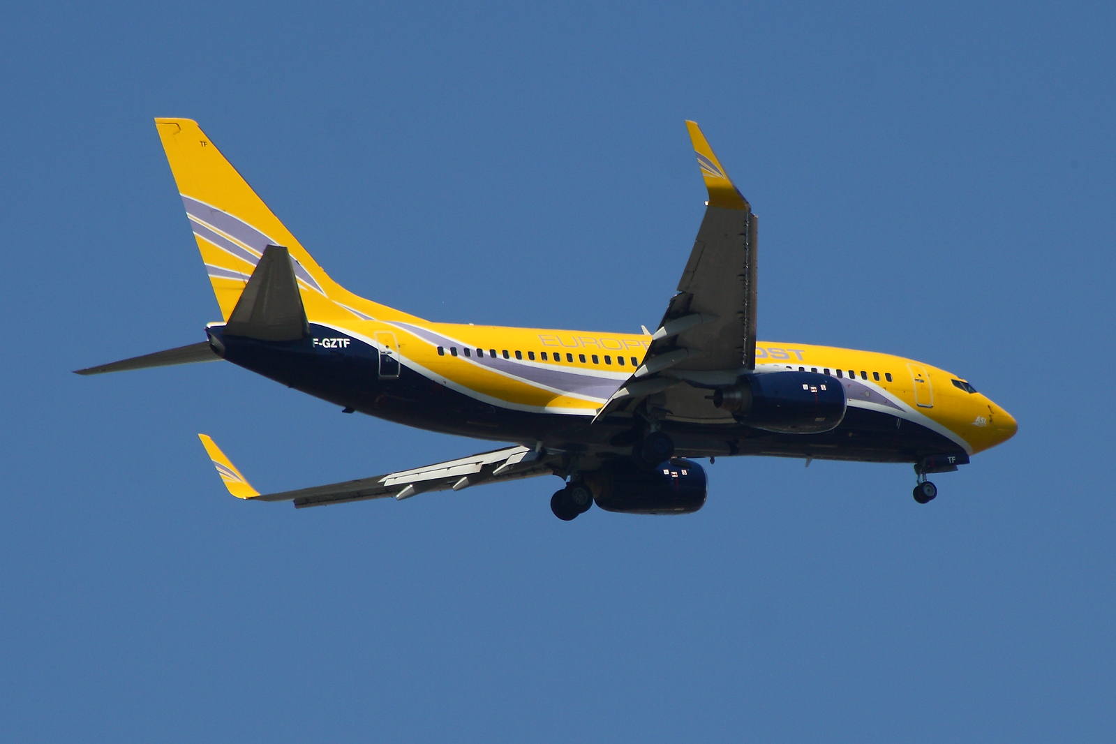 F-GZTF<br /> Europe Airpost<br /> Boeing 737-73S<br /> Glasgow Airport<br /> 24/07/2014