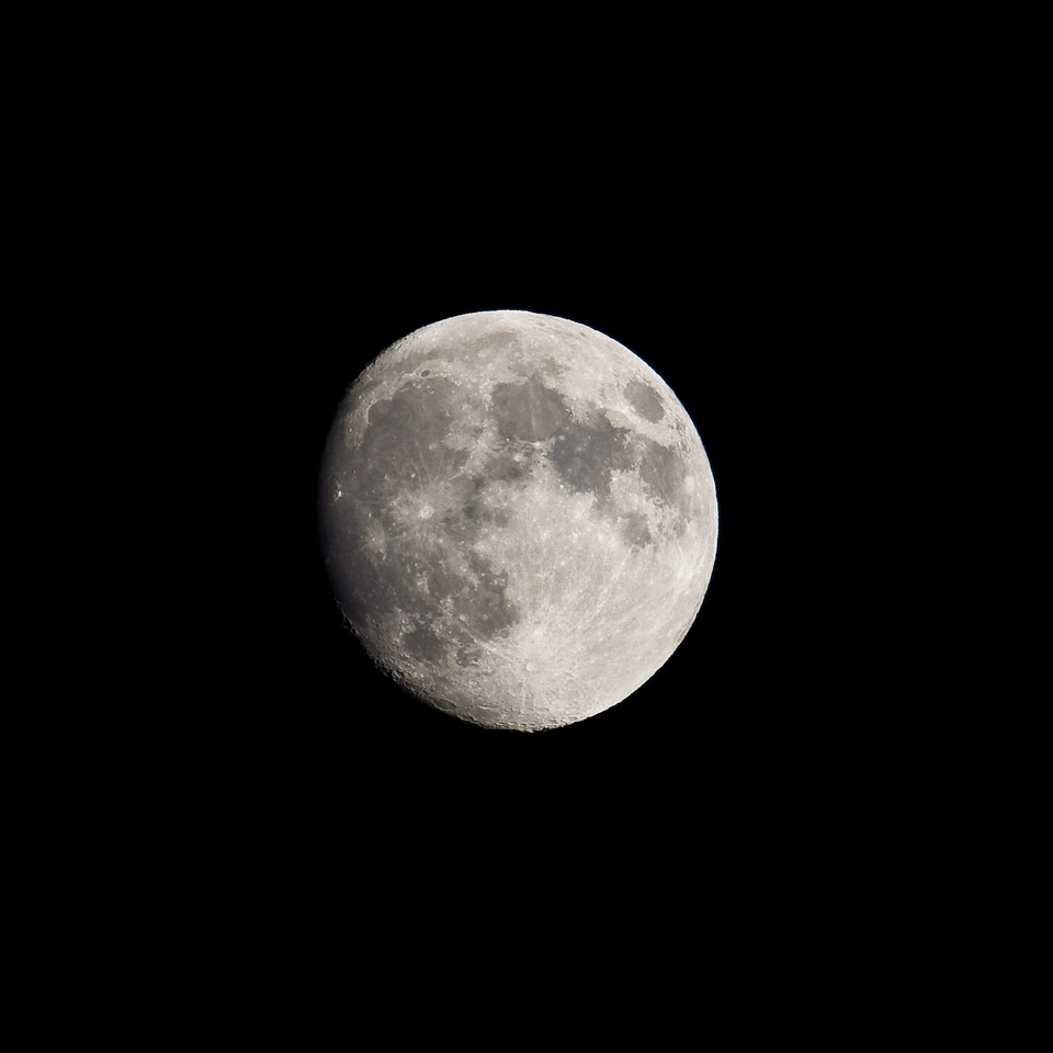 Fully hand-held shot 'o our moon.<br /> <br /> Location: Mt. Hood Meadows ski area parking lot, Oregon<br /> <br /> Lens used: 100-400mm f4.5-5.6 IS