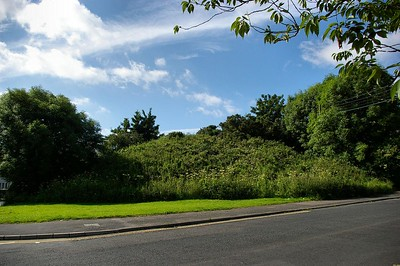 The railway embankment at the junction of Scrabo Road and Trasnagh Drive prior to removal in 2008.