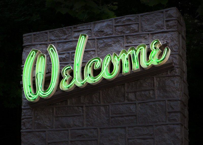 """Sixty-year-old neon """"Welcome"""" sign"""
