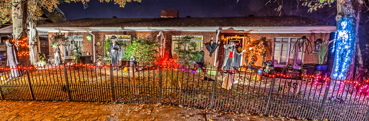 House decorated for Halloween on Broadway