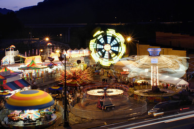 "The carnival section of the 2006 Black Gold Festival held annually in Hazard Kentucky. Photo taken from Baker Avenue when the rides were in what is now unofficially know as ""Triangle Park"""