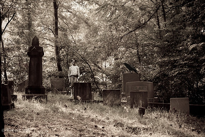Scary Cemetery Scene with Raven and Ghost Boy