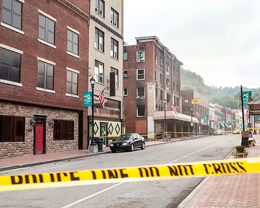 Hazard's Main Street following the 2015 fire