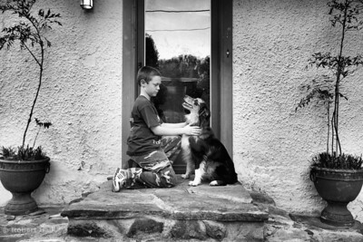 Boy and dog on stoop
