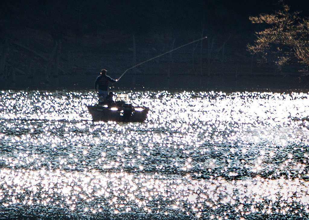 A fisherman casts his line one morning on Carr Creek Lake