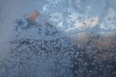 Frost built up on the windows of my apartment.