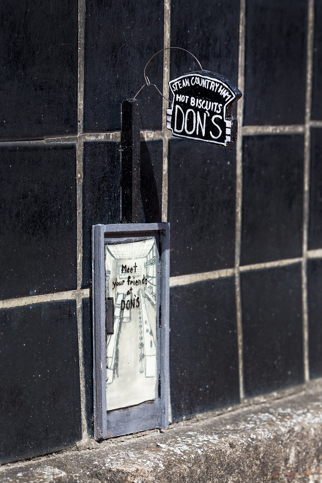 A tiny recreation of the door to Don's Restaurant